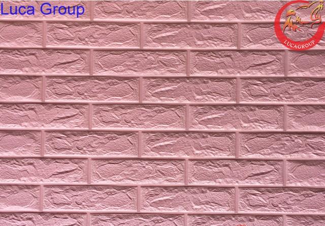 Xốp Dán Tường Giả Gạch Màu Hồng Nhạt Mã 06